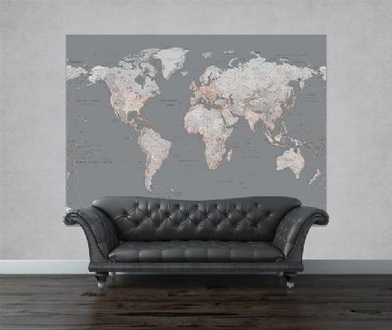 Silver Map of the Word wallpaper